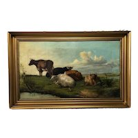 """Antique 19th Century Oil Painting """"Cattle In Water Meadow"""""""