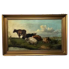 "Antique 19th Century Oil Painting ""Cattle In Water Meadow"""