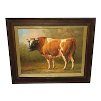"""20th Century Oil Painting """"Prized Country Farm Animal Bull"""" Portrait"""
