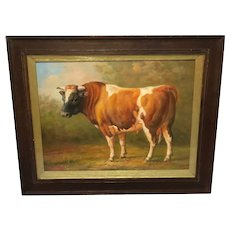 "20th Century Oil Painting ""Prized Country Farm Animal Bull"" Portrait"