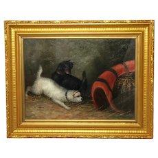 """Fine Oil Painting Study """"2 Terrier Dogs In Barn"""" Gilt Framed"""