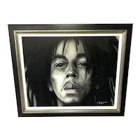 """Large Mixed Media Painting Portrait """"Bob Marley"""" Signed Paul Karslake FRSA 1958-2020"""