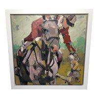 Large Oil Painting Huntsman Astride Horse With His Dog By Marieke Bekke