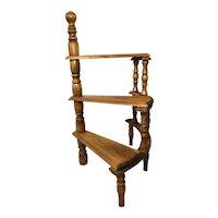 Vintage Light Oak Library Spiral Curved Step Ladder Stand