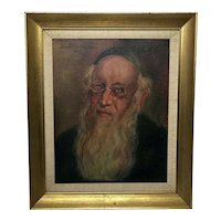 "Oil Painting Portrait ""Unknown Jewish Israeli Rabbi"" Signed Anschul"