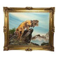 Fine Wall Art 20th Century English School Oil Painting African Lion Portrait