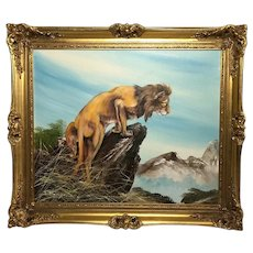 Fine Wall Art 20th Century English School Oil Painting African Lion Portrait