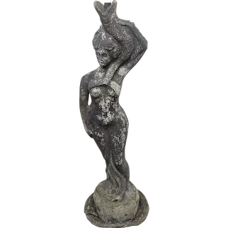 "19th Century French Garden Fountain Spout Lead Lady ""The Fisherwoman"""