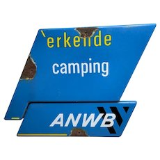 Netherlands Enamel Erkende Camping Site ANWB Advertising Sign