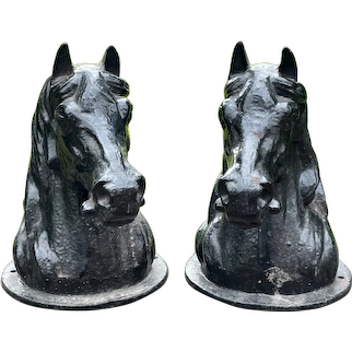 Pair Small Cast Iron Horse Head Finial Busts