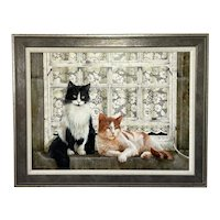 """Oil Painting Cats Sitting """"Watching The World Go By"""" Signed David C Lyons"""