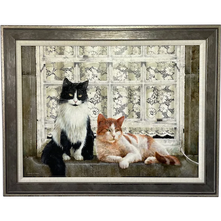 "Oil Painting Cats Sitting ""Watching The World Go By"" Signed David C Lyons"