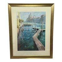 "Mixed Media Painting ""The Grand Canal & San Salute"" By James Bartholomew RSMA"