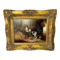 """Oil Painting 3 Hunting Terrier Dogs """"A Sharp Lookout"""" Edward Armfield 1817-1896"""