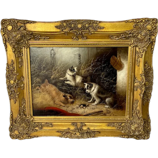"Oil Painting 3 Hunting Terrier Dogs ""A Sharp Lookout"" Edward Armfield 1817-1896"