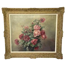 """19th Century French School Oil On Canvas Painting """"A Bowl Of Red & Pink Roses"""""""