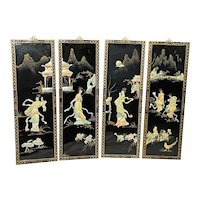 Set Fine 4 Japanese Temple Geisha Lady's Wall Plaques