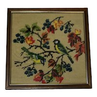 Fine Vintage 20th Century 1970's Artwork Tapestry Exotic Birds In Tree Scene Wall Hanging