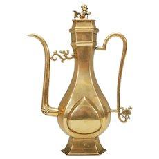 Antique 19th Century Chinese Kuang-Hsu Guangxu Gilt Bronze Slim Teapot