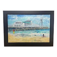 """Contemporary Oil Painting Seaside """"Bournemouth Pier"""" Signed Katharine Dove"""