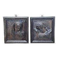 Pair Ecclesiatical Mary & Jesus Wall Plaster Plaque Sculptures