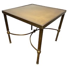 Small French Brass Square Leather Top Coffee Table