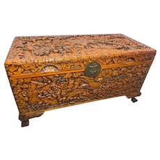 Chinese Camphor Wood Carved Birds & Flowers Chest