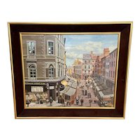 """Figurative Art Oil Painting Manchester Market Place """"The Street Traders"""" By Patrick Burke 1932-2010"""