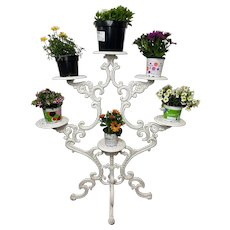 Victorian Garden Cast Iron Painted White 6 Branch Plant Stand