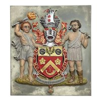 Bronze Painted Gilded Military Award Knighthood Coat Of Arms Plaque