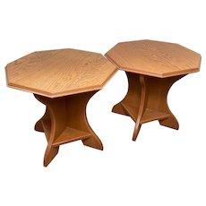Pair Vintage Teak Octagonal Side Lamp Tables