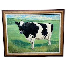 """Oil Painting Holstein Friesian Prized Cow """"Susan"""" Portrait"""