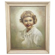 Oil Painting Portrait Girl With Curly Hair Happy Smile Circa 1945