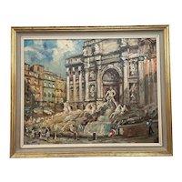 "Italian Oil Painting Piazza Navona ""Trevi Fountain"" Rome"" By Carlo Montesi Born 1920"