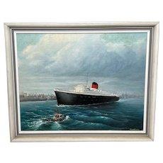 "Oil Painting Maritime ""RMS Saxonia"" Liner Ship Sailing Mersey Liverpool Docks"