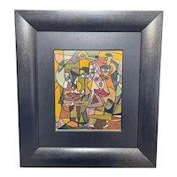 """Oil Painting Cubism """"Composition Of Figures"""" Signed Joseph Dubiel Von LeRach"""
