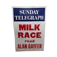 Vintage Mid 20th Century Advertising Poster Sunday Telegraph Milk Race