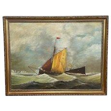 """Seascape Oil Painting """"SS Kaiser Wilhelm der Grosse"""" Ship Signed B Draper"""