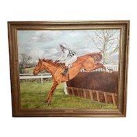 "Oil Painting ""Londolozi"" Horse Jockey Racing Jumping Fence Signed Sue Wingate RCA 1947-2016"