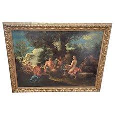 Genre Art 18th Century Oil Painting Classical Figures Musical Recital & Satyrs