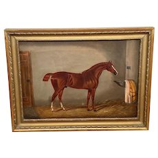 19th Century Oil Painting Horse Portrait In Stable Signed Edwin Loder 1827-1885