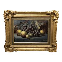Antique English 19th Century Oil Painting Still Life Fruit Listed Oliver Clare