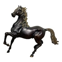 Early 20th Century Gilt Bronze Equestrian Pacing Horse Statue