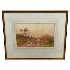 "Watercolour ""Returning Home"" Shepherd Droving Flock Sheep Signed George Barker 1858-1911"