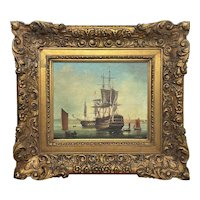 Seascape Oil Painting First Rate Man O War Ships Portsmouth Harbour Brian Coole