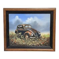 """Oil Painting """"Unloved Abandoned VW Beetle Car"""" Signed David Robert"""