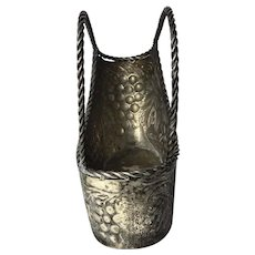 Antique Original Art Nouveau French Silver Plate Champagne Basket Ice Cooler