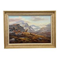 """Oil Painting Scottish Stags """"Denizens Of The Highlands"""" Signed Wendy Reeves"""