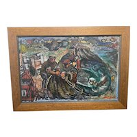 Expressionist Scottish Painting Fishermen Hauling The Nets Signed Archibald Peddie 1917-1991