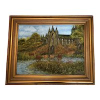 Antique Early 20th Century Irish School Oil Painting Cathedral Country Pastoral Cattle In River